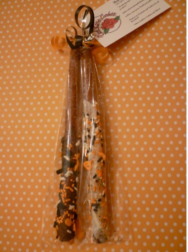 Halloween Chocolate Covered Milk and White Chocolate Pretzel Rods 12